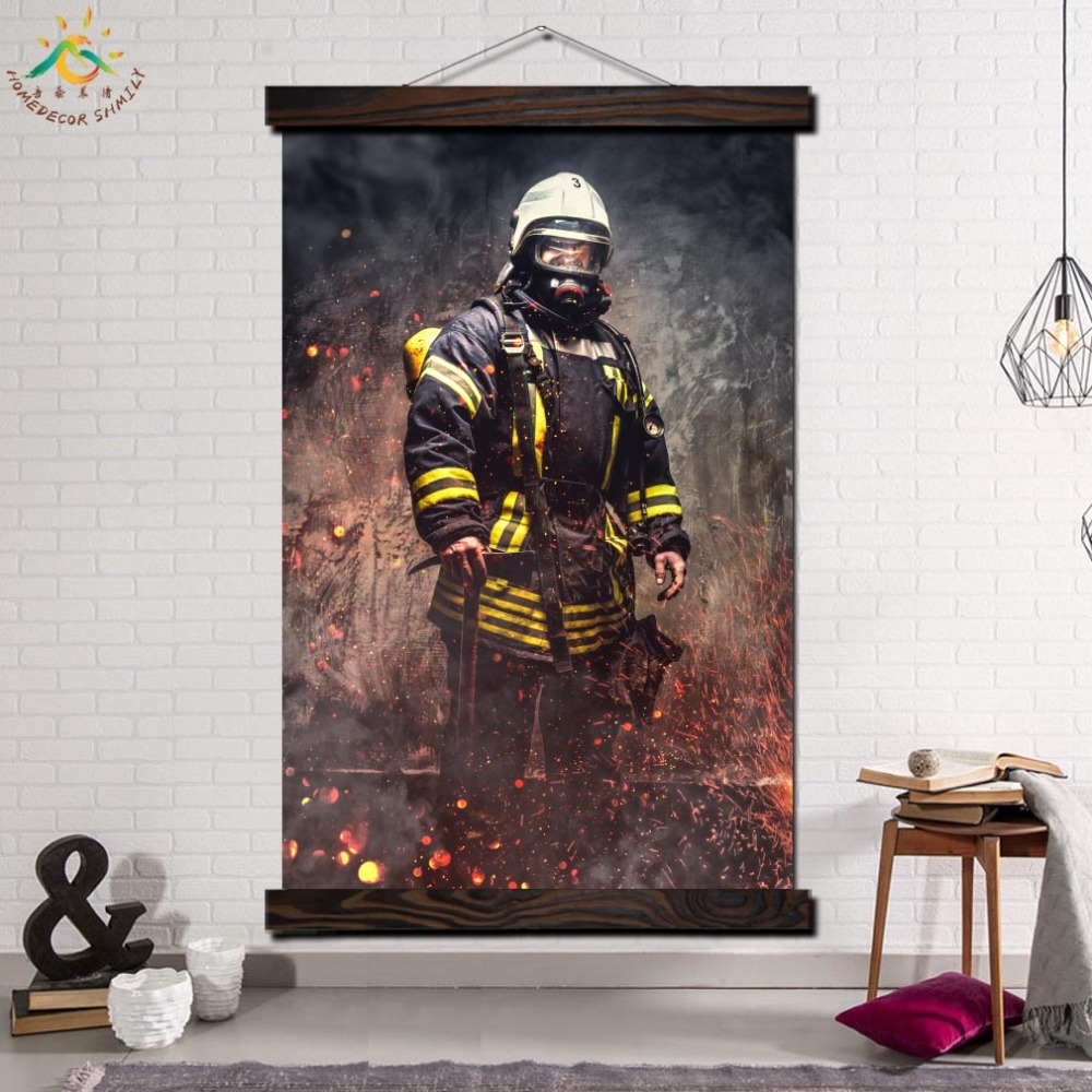 Hero Fireman Picture Modern Wall Art prints poster Picture And Poster Wood Frame Scroll Canvas Painting Home Decoration