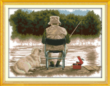 Здесь можно купить  Fishing man and his dog  Printed Canvas DMC Counted Chinese Cross Stitch Kits printed Cross-stitch set Embroidery Needlework