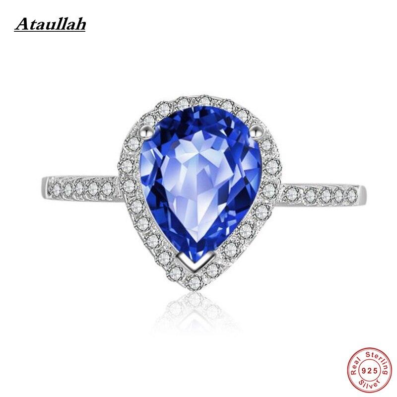 Ataullah New Big 925 Ezüst Színek Sapphire Gyűrűk Női Sterling - Finom ékszerek