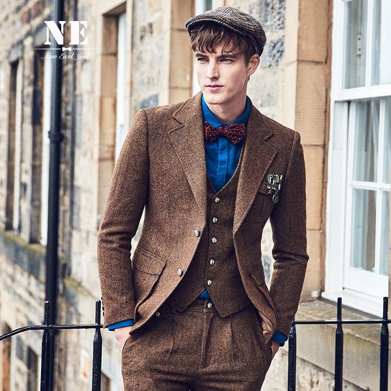 brand clothing 60% wool blazer men slim fit single breasted retro vintage wedding groom brown man jacket stage casual blazers
