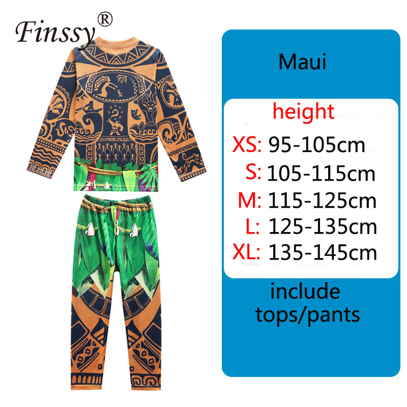 Ocean Princess Moana Maui Tattoo Pajamas Fall Warm Sweater Long Sleeve Top Pants Halloween Pajamas Party Kids Costume