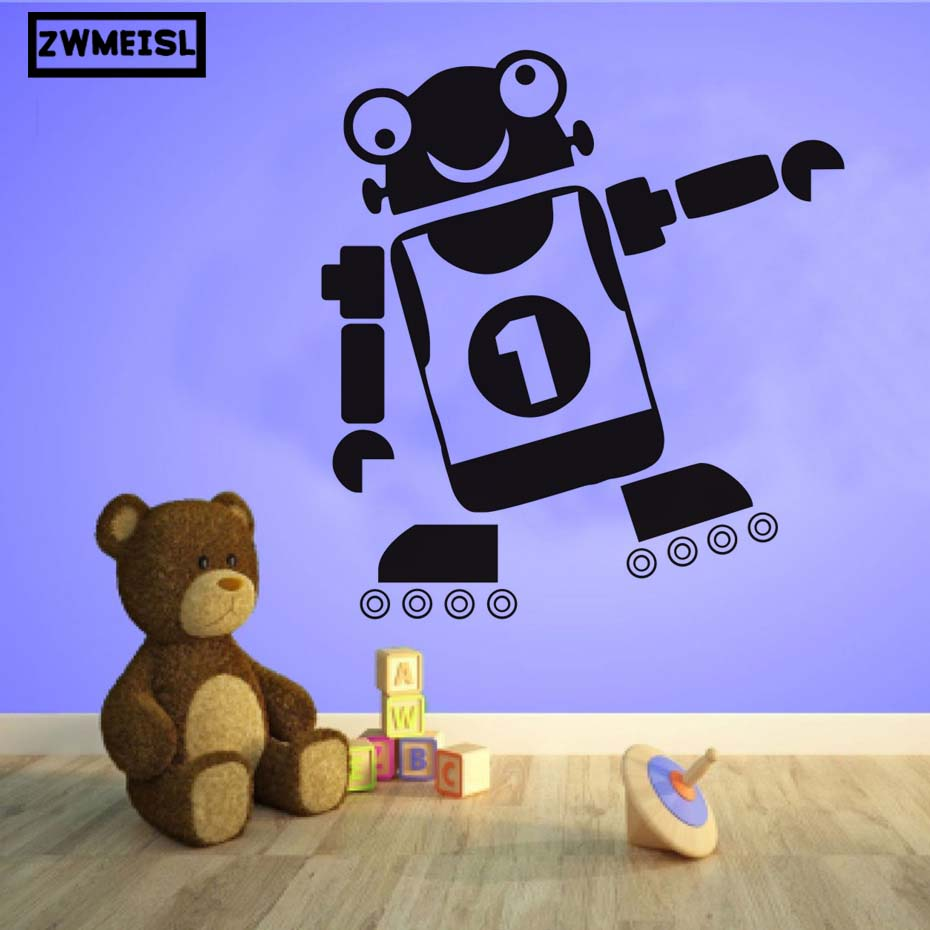 ZWMEISL No. 1 Robot Art Vinyl Wall Stickers For Kids Rooms Bedroom Adhesive Wallpaper Cool Robot Design Home Decoration Accessor
