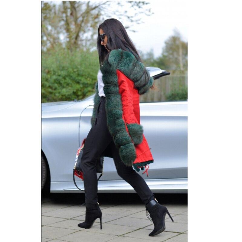 D'hiver Pour Réel Manteau Tatyana Col De Avec Veste Parka Mode Femmes Furclub Fourrure Naturel Parkas Rouge Renard Casual Les gwFxxBRq