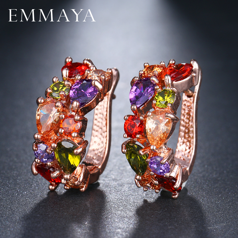 EMMAYA Wholesale Luxury Rose Gold Color Earrings Flash CZ Zircon Ear Studs 12 Colors Earrings Women Cheap brincos(China)