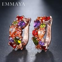 EMMAYA Wholesale Luxury Rose Gold Color Earrings Flash CZ Zircon Ear Studs 12 Colors Women Cheap brincos