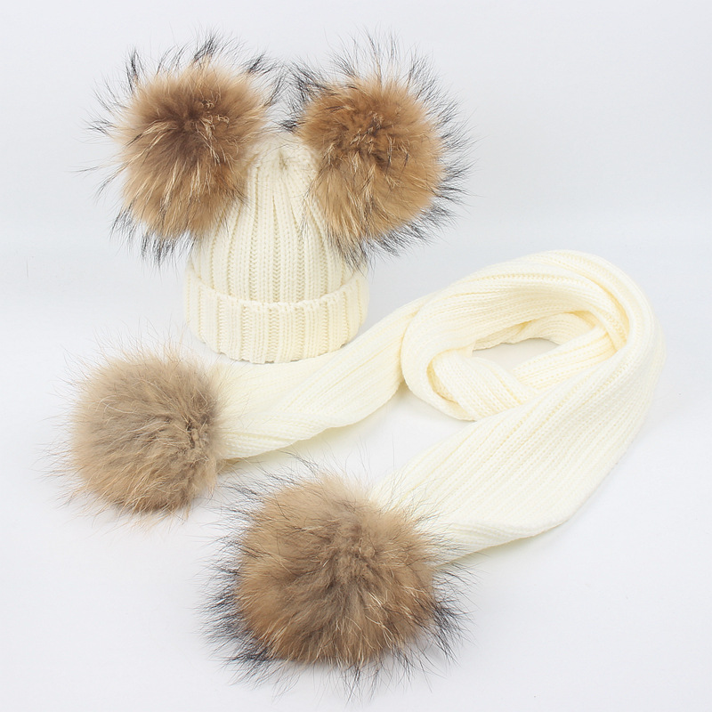 New Fashion Children's Knit Hat Scarf Pieces Set 2 Warm Winter Girl's Boy's Fur Raccoon Pompons Soft Scarves Cap Children Baby