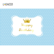 Laeacco Golden Crown Happy Baby Birthday Party Dots Child Poster Portrait Photo Backdrop Background Photocall Studio
