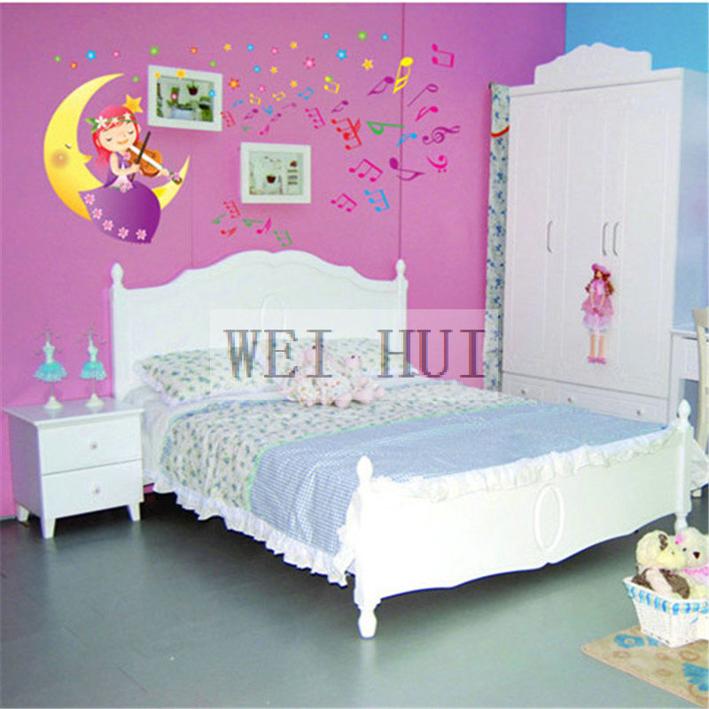 Large Size Music Moon Girl Vinyl Mural Decal Wall Sticker for Glass ...