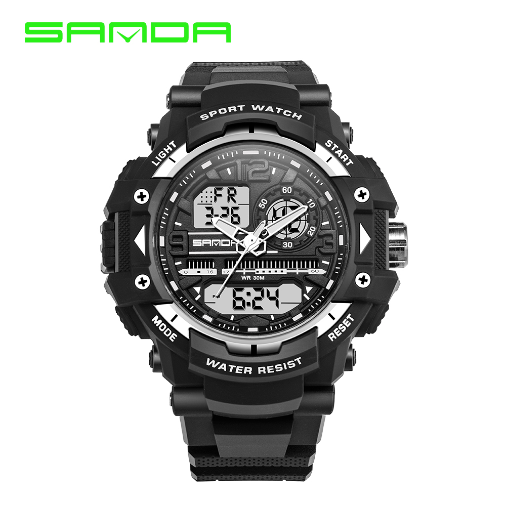 SANDA Fashion Sport Watch Men Camping Diving Military Wrist Watches Waterproof Geneva Clock For Male Saat Relogio Masculino