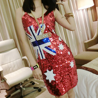 Sexy Australia Flag Sequin Short Straight Sleeveless Evening Dresses Loose Club Occasion Wear For Fashion Girl