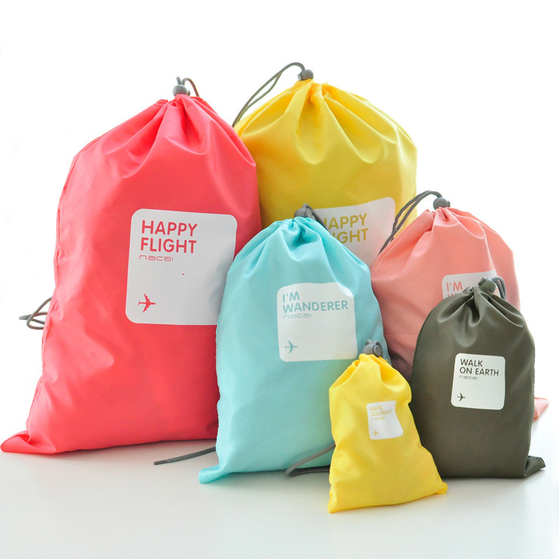 MOSEKO 4pcs/lot Waterproof Travel Drawstring Dry Storage Bag Shoe Laundry Lingerie Makeup Pouch For Cosmetic Underwear Organizer
