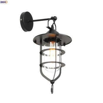 черный металлический декор стен | IWHD американский кантри стеклянный светодиодный настенный светильник, прихожая лестничная площадка, лофт промышленный декор, настенный све...