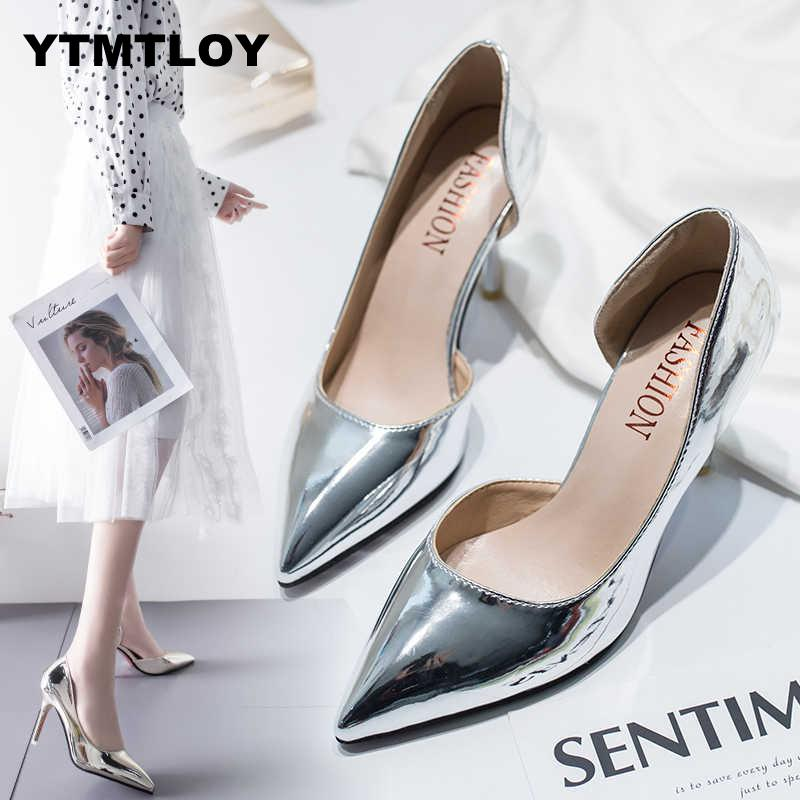 Women Pumps Mid Heel Pump Ladies Pointed Toe Casual Shoes Sandals High Heels Wedding Sexy Pumps Gold Silver Zapatos Mujer 8cm A8
