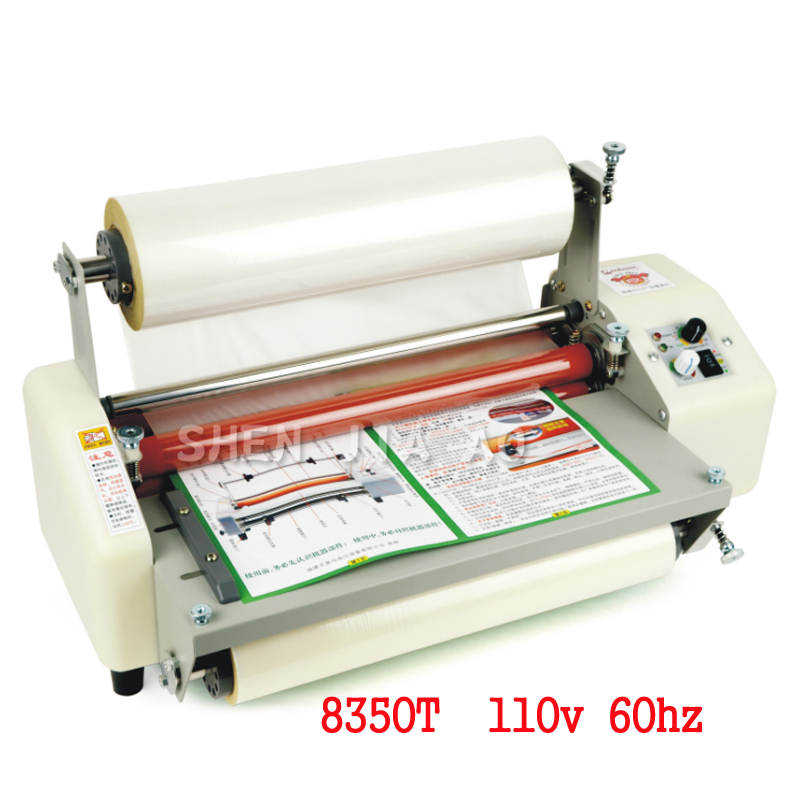 8350T A3 Four Rollers Laminator Hot roll laminator High-end speed regulation laminating machine thermal laminator 110V 1PC mini professional thermal office hot and cold laminator machine a4 document photo blister packaging plastic film roll laminator