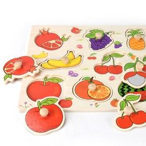 Image 4 - Rompecabezas de madera Montessori para bebé, tablas de agarre manual, Tangram de juguete, rompecabezas para bebé, juguetes educativos dibujo animado, vehículo, animales, frutas, 3D