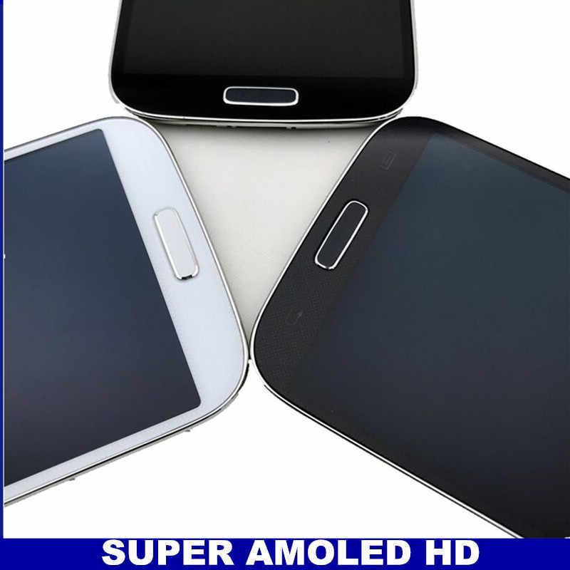 لسامسونج غالاكسي S4 i9500 الهاتف AMOLED LCD محول الأرقام بشاشة تعمل بلمس مع الإطار الأزرق الداكن/الأبيض/الأسود استبدال الزجاج المقسى