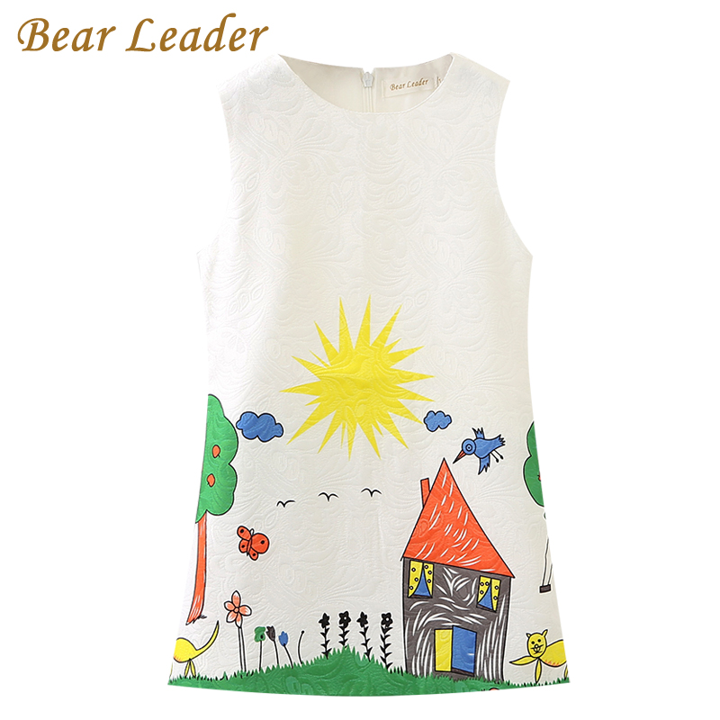 Bear Leader Girls Dress 2018 Brand Princess Dress Kids Clothes Sleeveless Red Rose Print Design for Girls More style Clothes bear leader girls dress 2017new brand print princess dress autumn style petal sleeve flowers print design for children clothes