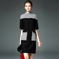 Brief Career Dresses Half Sleeve Fashion Gray Patchwork Black Noble Classic Work New 2017 Early Autumn