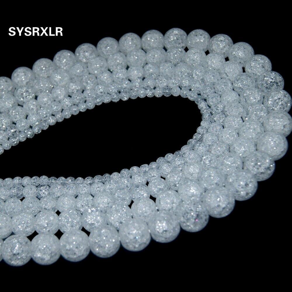 Nagykereskedelmi természetes fehér hó repedt kristály kő - Divatékszer - Fénykép 4