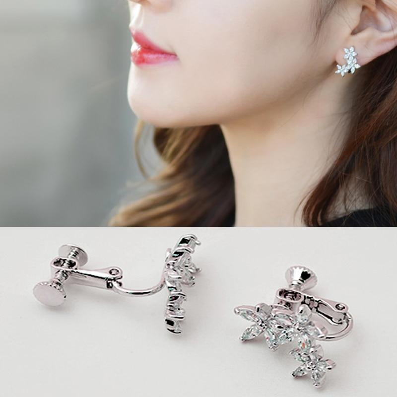 Fashion Jewelry flower earring Cute Zircon Leaf Clip Earrings for ...