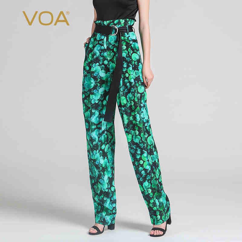 VOA zöld nyomtatás selyem hárem nadrág magas derékú bohém nők - Női ruházat