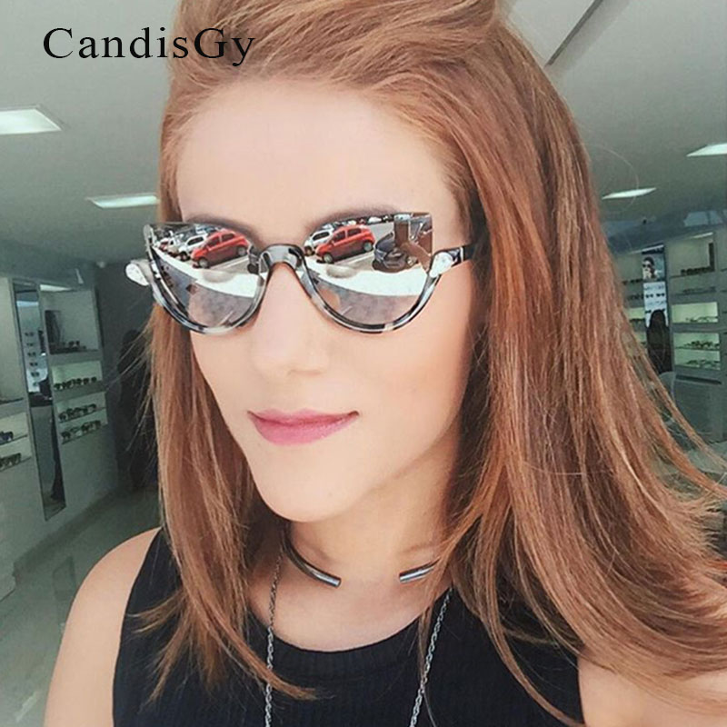 5fb79c246 القط العين نصف إطار نظارات بيند معبد نصف الإطار الماس سيدة أزياء لطيف ظلال  uv400 النظارات مرآة صغيرة تشامبانجي