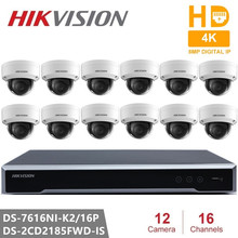 Hikvision Video Surveillance DS-7616NI-K2/16P Embedded Plug & Play NVR 4K H.265+ DS-2CD2185FWD-IS 8MP IP Camera for Home Safety