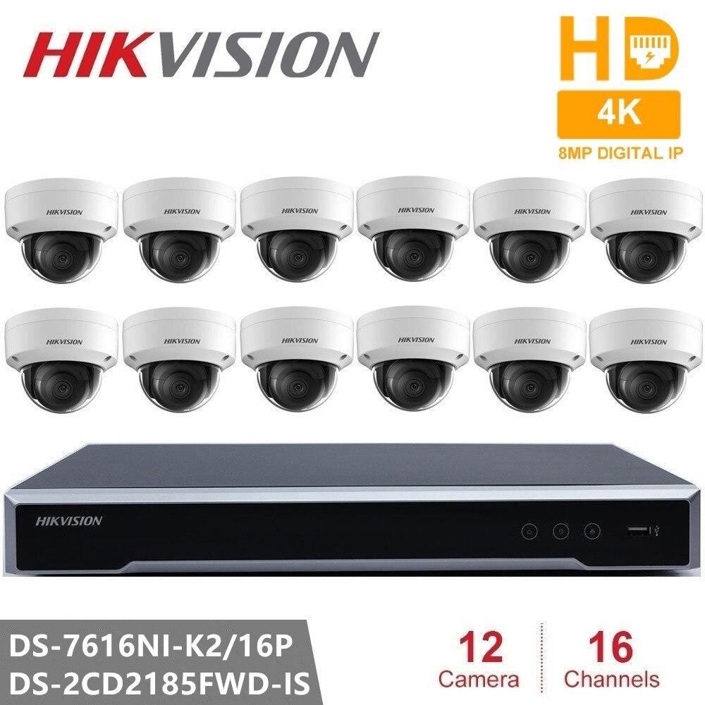 Videovigilância Hikvision DS-7616NI-K2/16 P Incorporado Plug & Play NVR 4 K H.265 + DS-2CD2185FWD-IS 8MP Câmera IP para Segurança Em Casa