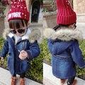 Bebê Menina Denim Casaco de Inverno Com Capuz Jeans Casaco Outerwear Casaco de Roupas para Meninas de Pele do Inverno Chapéu Zíper Das Calças de Brim Jaquetas Crianças Casacos