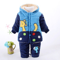New Baby Boys Clothing Set Winter Warm Clothes Suit Giraffe Cotton Velvet Clothing Set Fashion Boy's Clothes Toddler 1 3 years