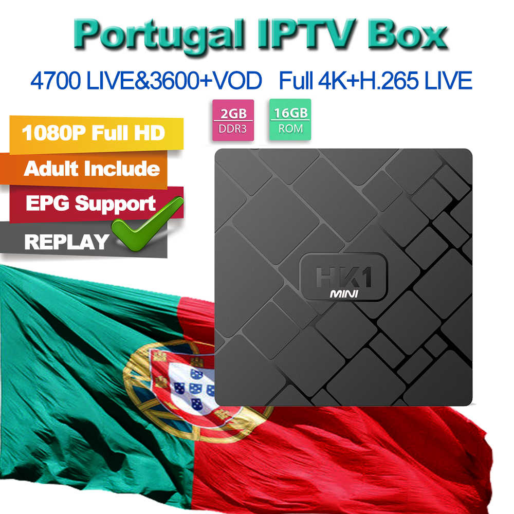 HK1 Mini  2+16G TV Box Portuguese Polish German Italy Spain Arabic French Sweden UK US CA IPTV Subscription for Android M3U VLC