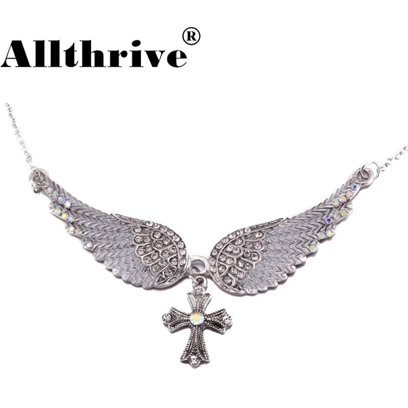 New Angel Wings Cross Pendants Necklaces for Women Fashion Jewelry Alloy Rhinestone Statement Choker Necklace Christian Crucifix