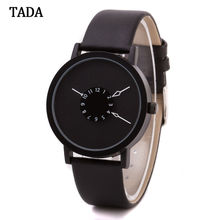 3ATM Waterproof tada brand special turntable dial hour clock women wristwatch genuine leather strap font b