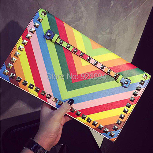 2016 HOT brand rainbow striped candy color fashion rivet chain clutch evening bag casual shoulder bag