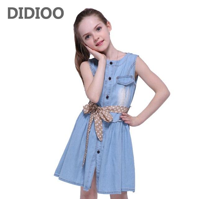 d63a60b03 Niñas Vestidos niños verano sin mangas Denim vestido para Niñas adolescentes  sundress niños ropa 8 10