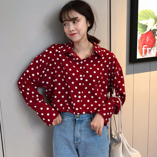 beda6850adf6f Spring Polka Dot White Red Blouse Long Sleeve Shirt Women Top Kawai Cute  Chemise Femme Chemisier