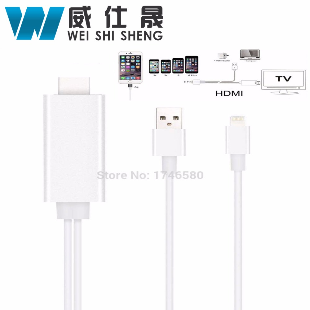 8 Pin To HDMI HDTV AV Cable For iPhone 5/5S/6/6S/7 Plus ipad Support HD1080P Connection TV For ios10