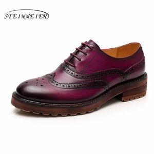 Image 3 - Kadın düz ayakkabı hakiki deri yuvarlak ayak flats platformu brogues bayanlar yaz kadın gladyatör düz kauçuk taban ayakkabı 2020
