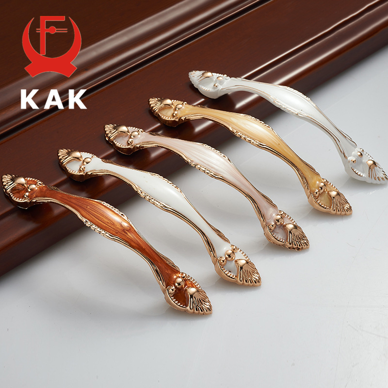 KAK 5PCS Aluminium Alloy Amber Wardrobe Door Handles 96MM 128MM Drawer Knobs Cupboard Handles Pull Pastoral Furniture Handle
