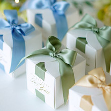 New DIY 50pcs 6.5x6.5x6.5cm 4 colors Secret language forest hot stamping green white wedding candy box European style