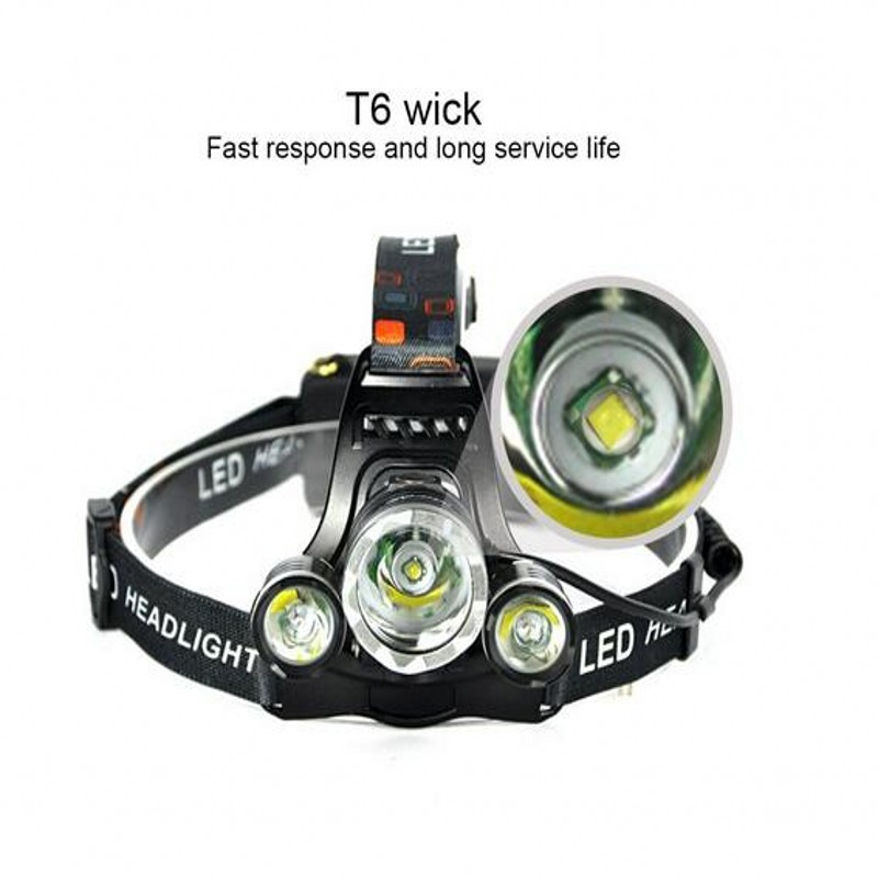 New Headlight XM-L 3XT6 LED Head Light 4 Modes Headlamp Lantern Hunting Bicycle Head Flashlight+Car AC Charger+Battery+USB cable 2