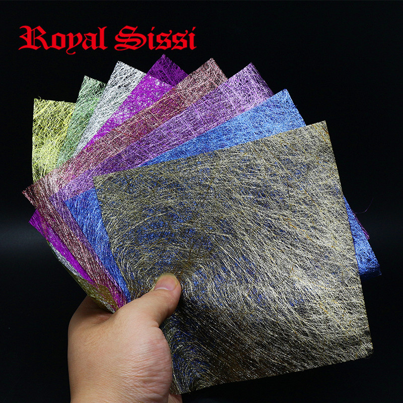 8Pieces/Set 8colors Web Flash Foil Waterproof poly Fiber sheet ultra Thin Film canbe trimmed& shaped for Flies Wings/Body Drapes