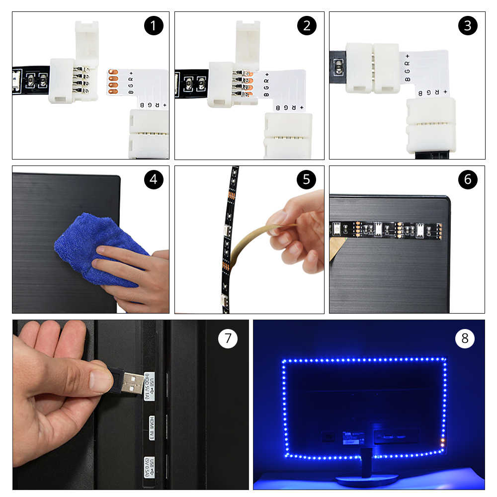 DC 5V USB LED Strip + 90 Degree Connector 10mm 5050 RGB Lights 1M 2M 3M Support White Color IR Remote Control PC/ TV Decoration