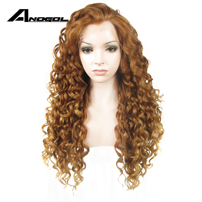 Anogol Free Part Long Kinky Curly Blonde Purple Pink Orange Black High Temperature Fiber Synthetic Lace Front Wig For Women