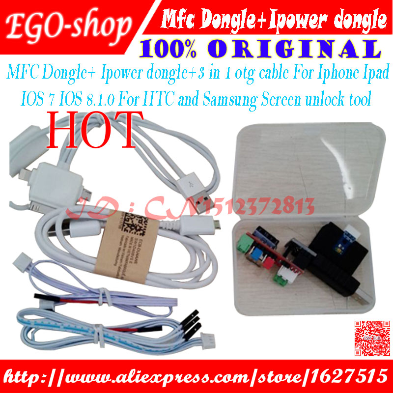 gsmjustoncct MFC Dongle+ Ip dongle+3 in 1 otg cable For Iphone Ipad IOS 7 IOS 8.0 8.1For HTC and Samsung Screen unlock tool