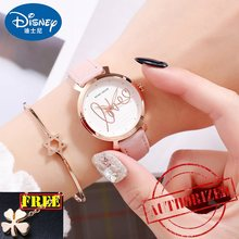 Disney brand 2019 ladies wristwatches Mickey mouse genuine leather quartz womens watches waterproof lover fashion woman clocks(China)
