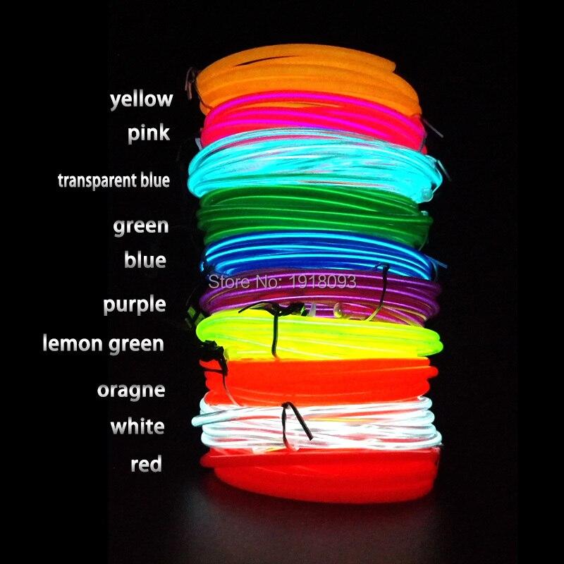 2017 Hot 15M 5.0mm 10Color Optional Energy saving EL Wire neon light Flexible LED Strip DC-5V USB Drive Glowing Garden decor
