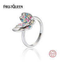 FirstQueen Authentic 100% 925 Sterling Silver Crystals Rings Butterfly Clourful CZ Fashion Jewelry Christmas Gift