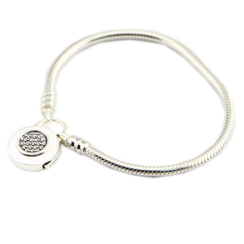 Nouveau printemps Moments Bracelet en argent lisse, Bracelet Signat 925 en argent Sterling 925 en argent Sterling bijoux fins bricolage