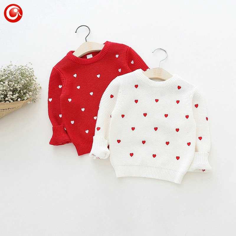 Children Girls Cardigan Heart Design Sweater Kids Long Sleeve O Neck Warm Pullover Knitted Clothes New Year Baby Clothing 2-6Y (3)